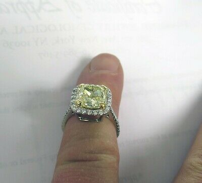 4.17 ct GIA Fancy Yellow VS1 Radiant Cut Diamond 18k yellow gold Ring w/diamonds
