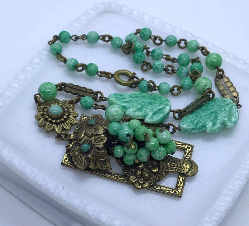 Gorgeous Vintage Czech Art Deco/Nouveau Peking Glass Repousee Necklace -NEIGER ?