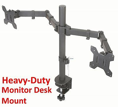 Dual Monitor Desk Mount Clamp LED LCD Full Motion Fits Most 27 Inch Screens Monitor Desk Clamp Mount