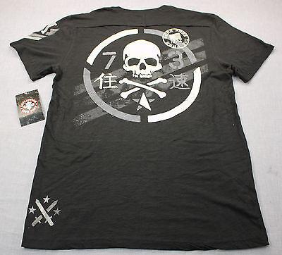 AFFLICTION Mens Black Born Free Die Free Standard Dry Goods Henley Shirt  NWT  S