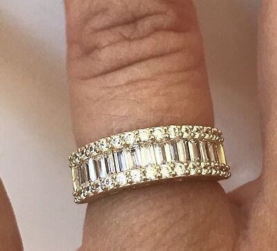 14k Solid Yellow Gold 1.75 Ct Diamond Wedding Band Anniversary Ring Baguette -
