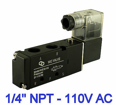 Pneumatic 4 Way 2 Position Directional Control Air Solenoid Valve 110v Ac 14