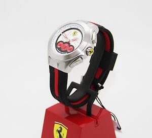 New-Mens-Scuderia-Ferrari-Racing-Dial-830022-Chronograph-Black-Silicone-Watch