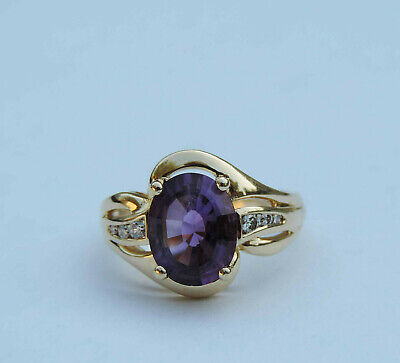 Ladies Genuine Oval Amethyst Gemstone Ring w/ 4 Dia. Accents - 14K Yellow Gold Genuine Amethyst Gemstone Ring