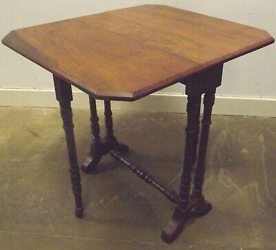 Antique Edwardian Small Oak Sutherland Drop-Leaf Tea Side Table, Needs TLC