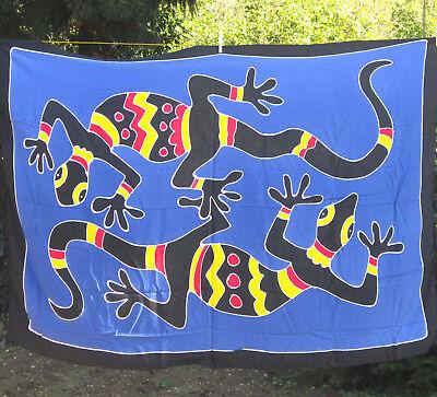 SARONG Australia-Style blau/bunt Echse Gecko Cicak Sarung Pareo Wickeltuch Bali