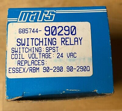 Mars 685744-90290 90290q Switching Relay - Coil Voltage 24 Vac New In Box