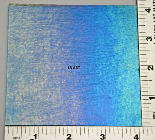 "1116.31- 4""x 4"" IRIDIZED TRANSPARENT TURQUOISE BLUE BULLSEYE 3mm GLASS 90 COE"