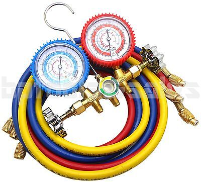 R134a R12 R22 R502 Manifold Gauge Set Hvac Ac Refrigeration Test 5 Charge Hoses