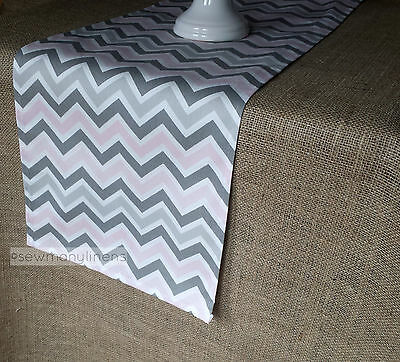 Pink Gray Table Runner Baby Shower Table Centerpiece Baby Girl Nursery Decor - Baby Blue Table Runner