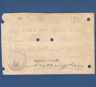Stadtkasse HERDECKE 1 Million Mark 1923 IV / F