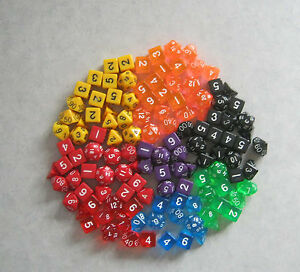 6x-Sets-of-7-3d6-NEW-RPG-Dice-Over-1-2-a-Pound-Bulk-assorted-die-lot