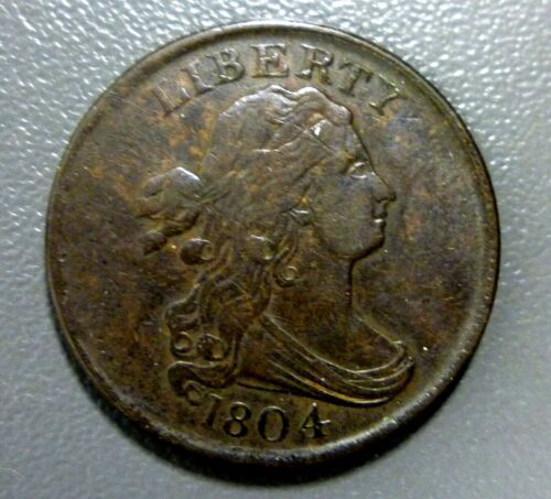 1804 Draped Bust Half Cent Plain 4 No Stems Great Example