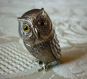 Solid sterling silver miniature OWL with glass eyes figure