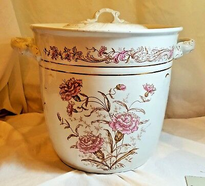 J & G Meakin Hanley England antique semi-porcelain chamber slop jar pot bucket