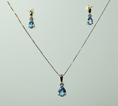 2.1 ctw Blue Topaz and Diamond Earrings, Pendant and Chain Set - 10K Yellow Gold