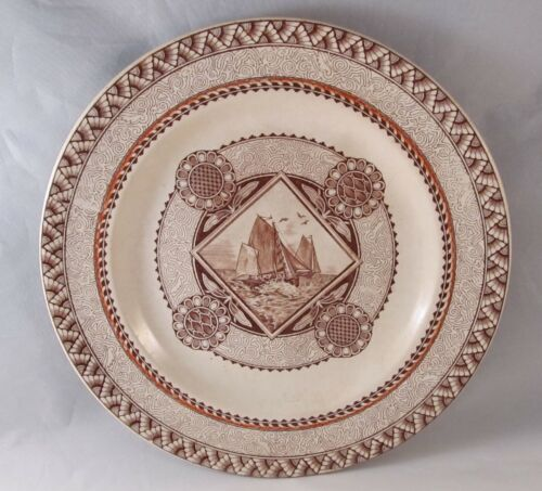 SUPERB AESTHETIC MOVEMENT PLATE SAILING SHIPS