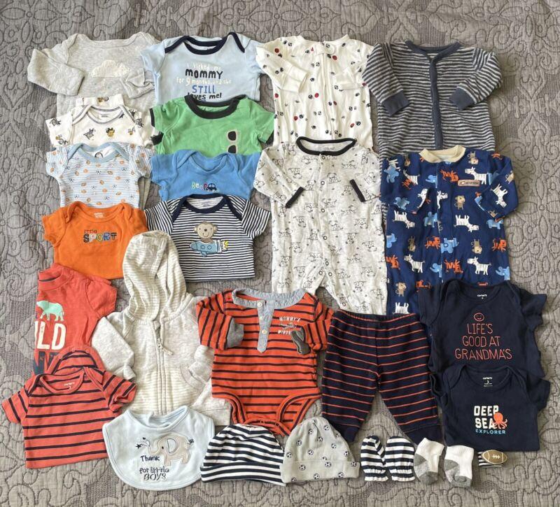 Infant Baby Boy 0-3 Month Clothing Lot Of 27 Pcs Mix & Match