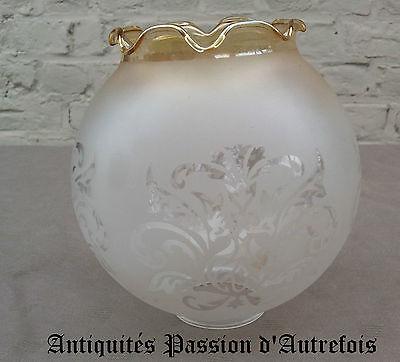 B20130640 - 1 bobèche ronde bord doré en verre givré - Très bon état