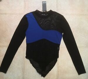 Nasty Gal Black and Blue Mesh Bodysuit New with Tahs
