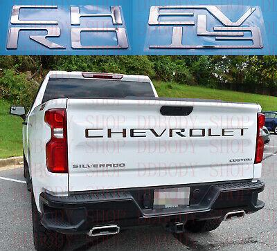 Chrome ABS Tailgate Letter Inserts 2019-2021 Chevrolet Silverado 1500 2500 3500