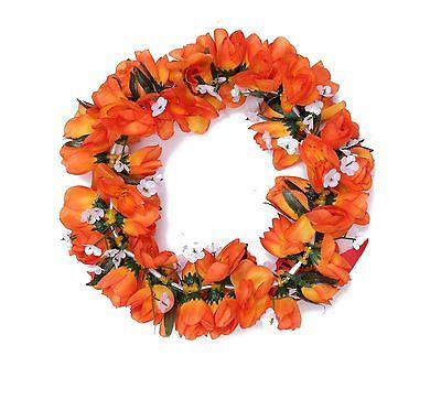 Hawaiian Lei Party Luau Headband Haku Elastic Flower Tuberose Orange Flame