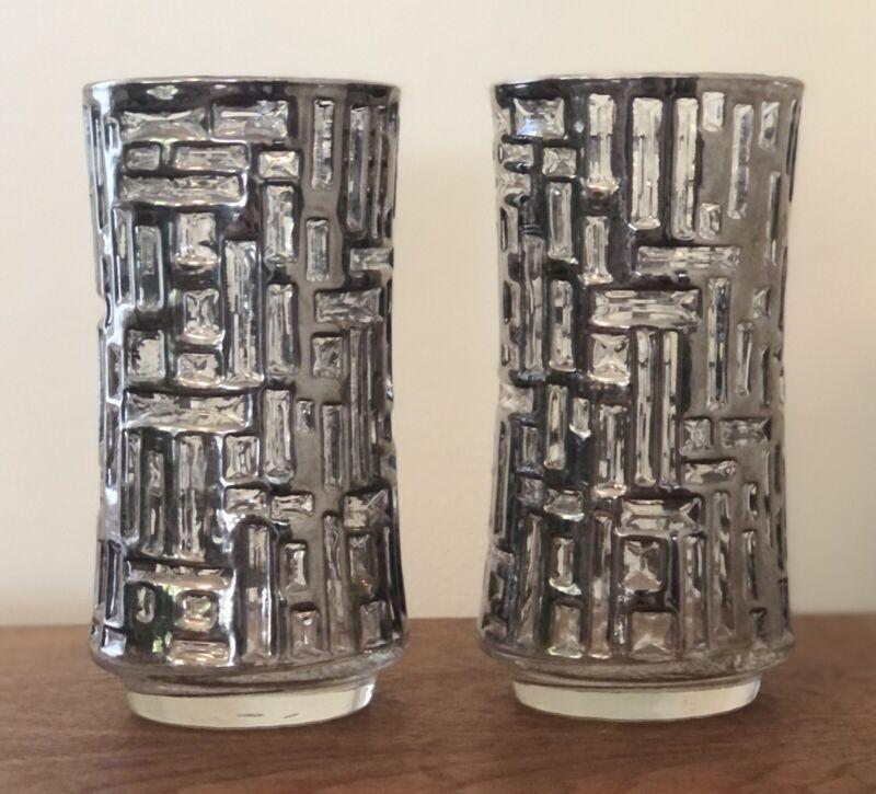 Vintage Platinum Artica Libbey High Ball Glasses Set Of 2