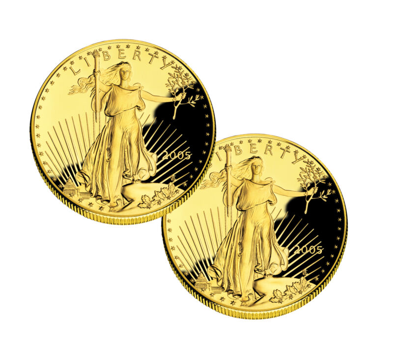 Lot of 2 - $25  1/2oz Proof Gold Eagle - Capsules Only (Random Date)
