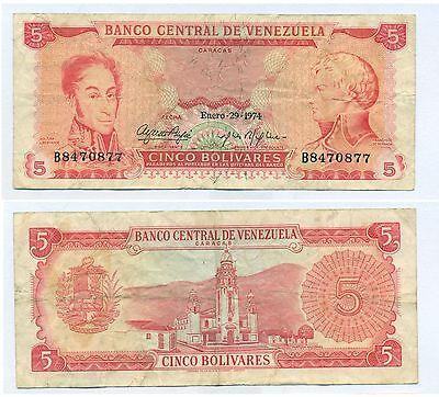 Venezuela Note 5 Bolivares 29 01 1974 Serial B 7 Digit P 50H F