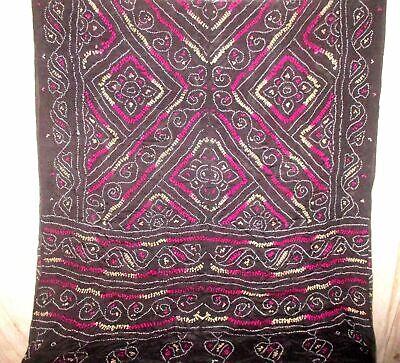 C SILK BLEND Antique Vintage Sari Saree Fabric Material 4yd ZZ4 233 Black CRAFT