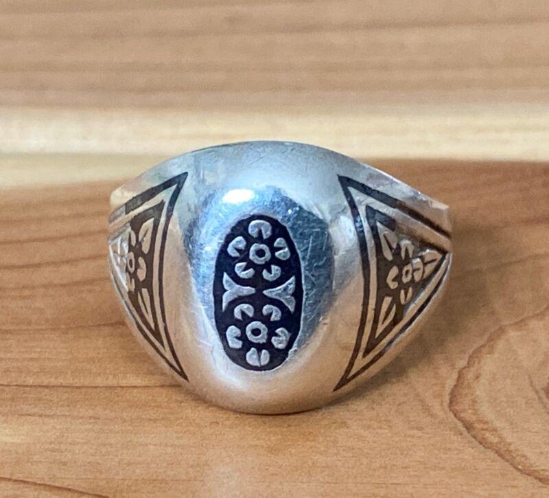 RUSSIA 875 Sterling Silver Vintage Antique Black Enamel Floral Band Ring Size 6