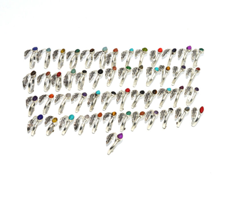 WHOLESALE 51PC 925 SILVER PLATED BLACK ONYX MIX STONE RING LOT  0 o205