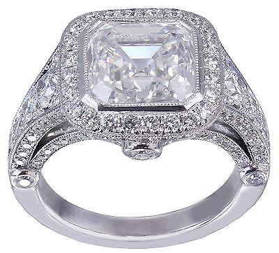 GIA I-VS2 18k White Gold Asscher Cut Diamond Bezel Engagement Ring Deco 3.30ctw 9