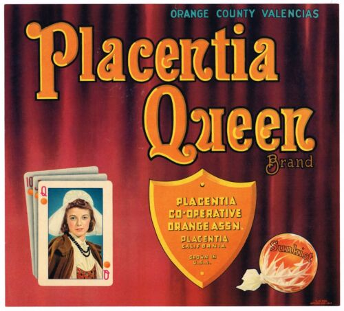 ORANGE COUNTY CRATE LABEL VINTAGE VERY RARE PLACENTIA QUEEN OF HEARTS 1930S