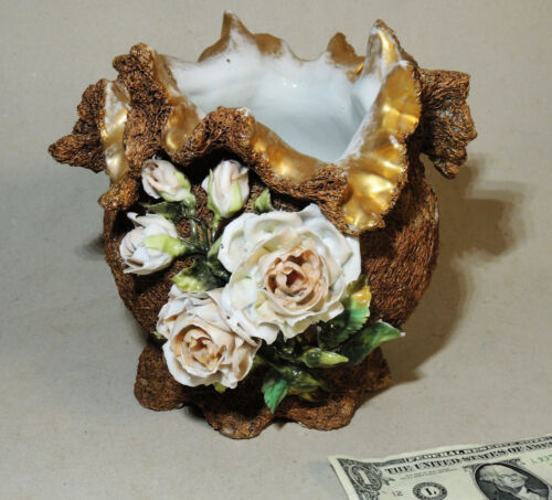 Antique 1890 German VASE Porcelain SPAGHETTI Jardiniere FLOWER Victorian Dresden