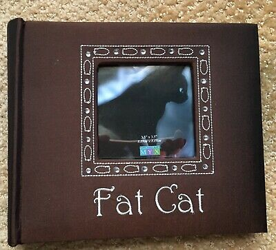 Photo Album 6x8 Cat Themed Embellished Brown Fabric Cover Holds 80 3x5 Photos (3x5 Photo Album)