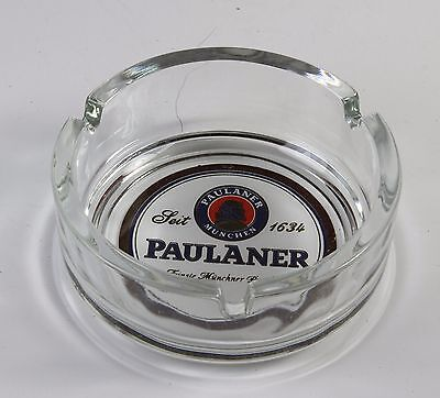 "PAULANER ASHTRAY BRAND NEW MADE IN GERMANY BY RUHR KRISTAL GLAS * 4"" DIAMETER"