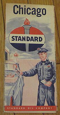 1956 STANDARD OIL Company Chicago Road Map Illinois    Waukegan Joliet Skokie