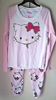 Women's Pajama Set Long Sleeve Shirt & Fleece Pants M Medium Sanrio Charmmykitty