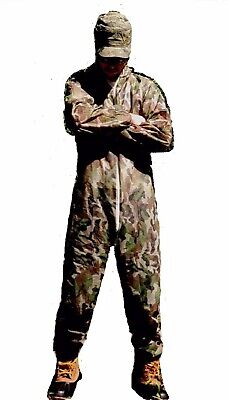Protective Camouflage Coverall Disposable Jumpsuit Hooded Size Ml New