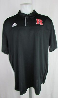 Rutgers Adidas Climacool Performance Polo Ncaa Black White Mens Xs 2X