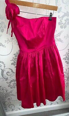 One Shoulder Fushia Pink Dress Size 6 UK From JS Boutique