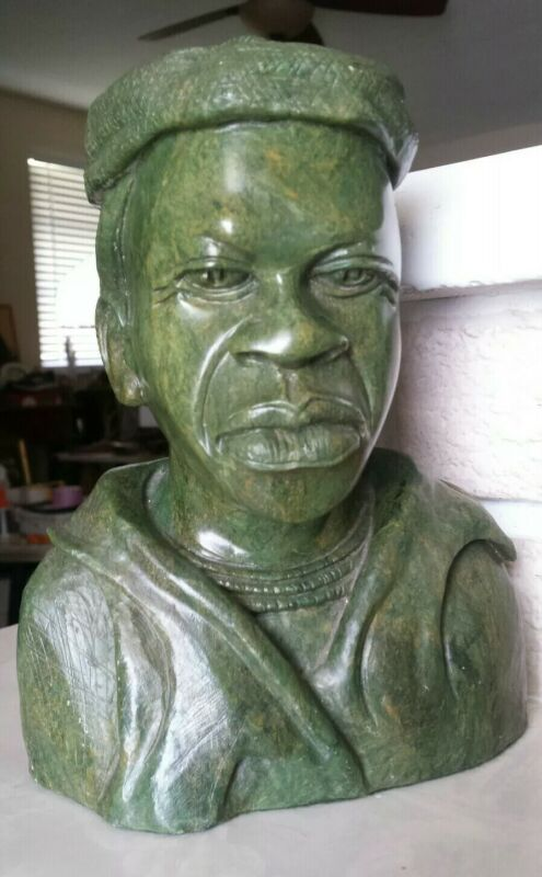 Hand Carved Green Verdite Zimbabwe African Man Head Bust Signed by Artist