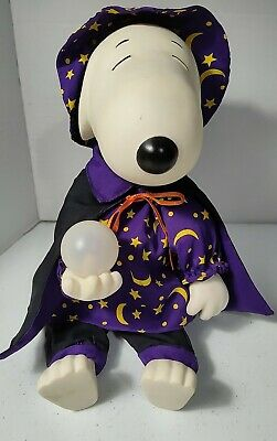 Vintage Gemmy Peanuts Snoopy Wizard Halloween Musical Witch Doll