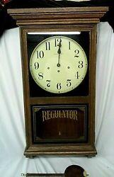 Hamilton Regulator Wall Clock Westminster Chime Vintage Large Wood Case