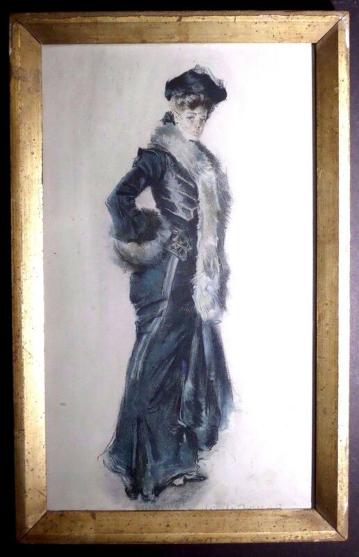 "RARE ANTIQUE PRINT~HOWARD CHANDLER CHRISTY~""ELEGANT LADY IN A FUR TRIMMED COAT"""