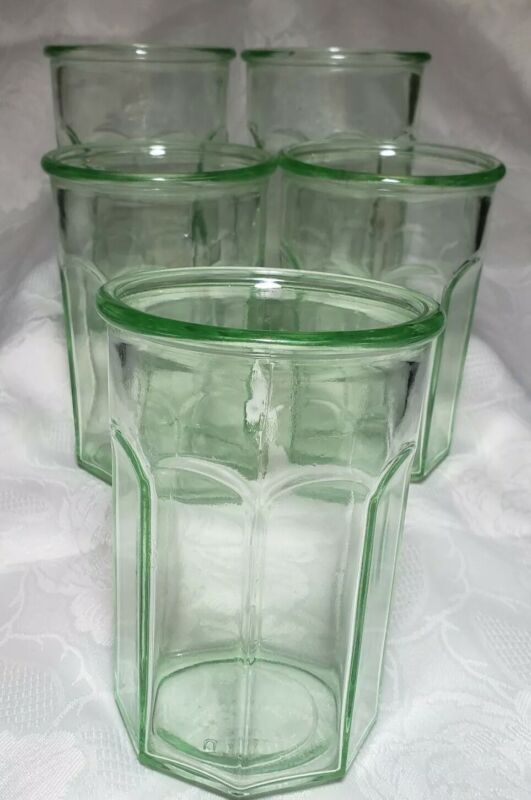 Very Rare Anchor Hocking Green Depression Working Glass Tumblers Set Of 3