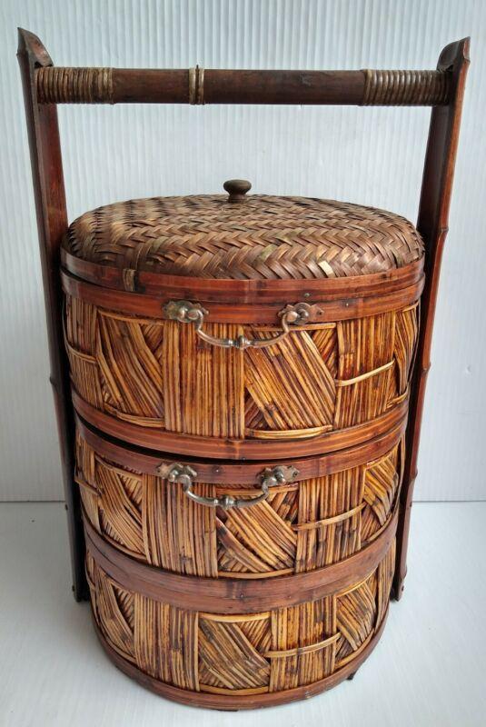 "Vintage Asian Chinese Wedding Basket Sewing 3 Tier Stacked Basket Large 27"""