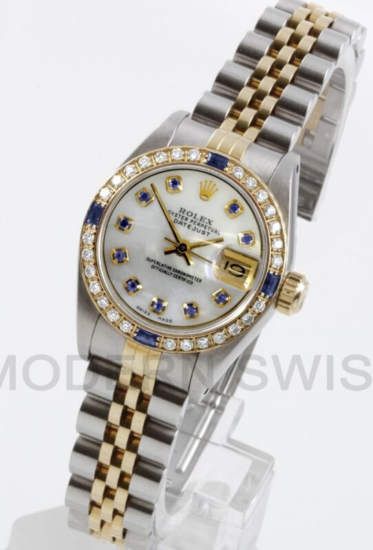 Rolex Ladies Datejust Gold & Steel Mop Sapphire Diamond Dial Bezel Jubilee 2tone