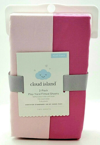 Cloud island 2pk Play Yard Fitted Sheets Fully Elastic Pink/Dark Pink
